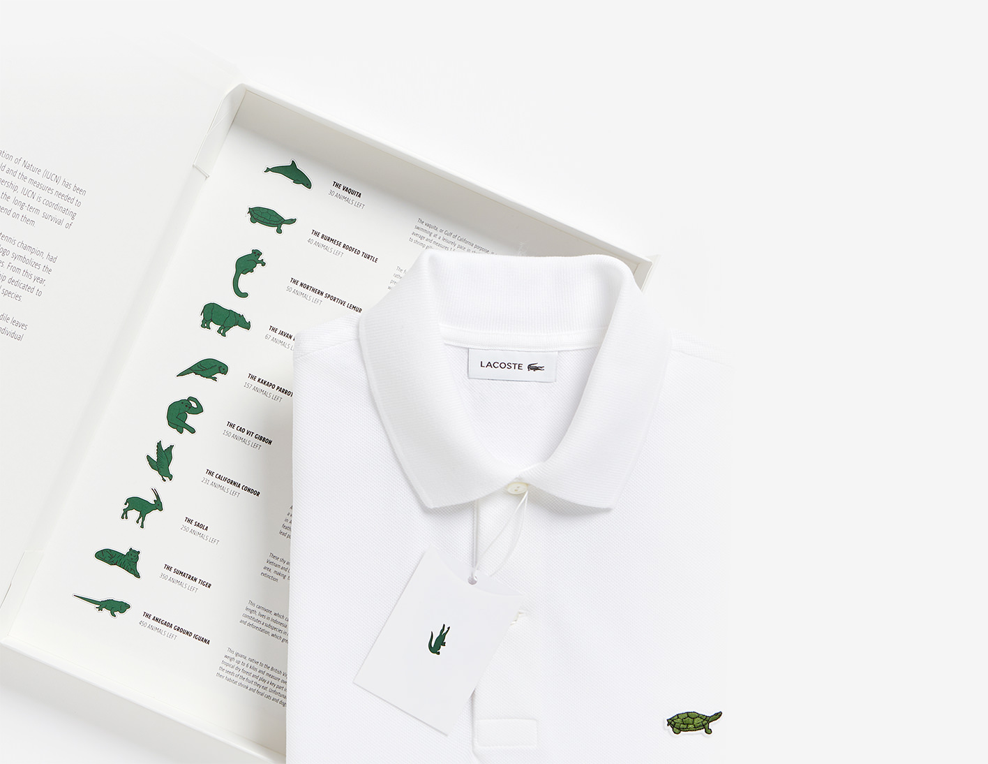 ebe501ea307c Lacoste s iconic Crocodile makes room for 10 Endangered Species on brand s  polo shirts